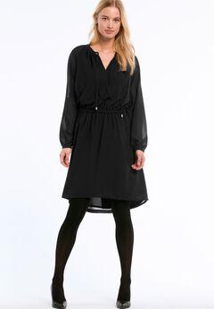 A-Line Peasant Dress by ellos®, BLACK, hi-res