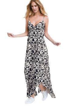 Carmen Woven Maxi Dress by ellos®, BLACK WHITE PRINT