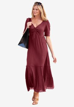 Gauze Maxi Dress by ellos®, RICH BURGUNDY, hi-res