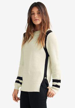 Side Stripe Mockneck Sweater by ellos®,
