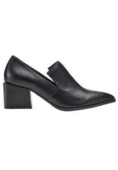 Leather Block Heel Loafer by ellos®, BLACK