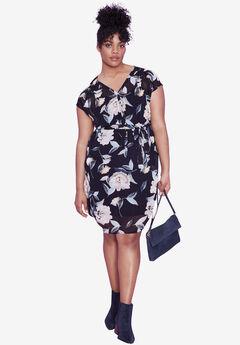 Ava Floral Dress by ellos®, NAVY FLORAL PRINT