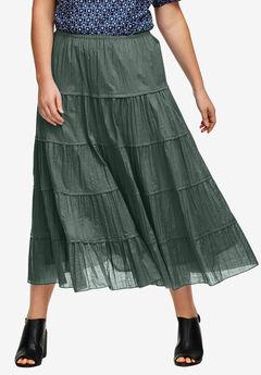 Crinkled Tiered Skirt by ellos®, PINE, hi-res