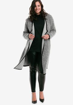 Bouclé Belted Cardigan by ellos®, BLACK WHITE, hi-res