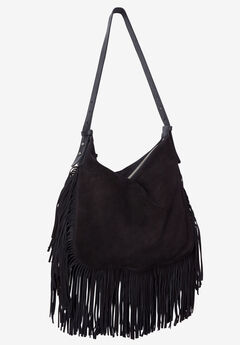 Suede Fringe Handbag by ellos®, BLACK, hi-res