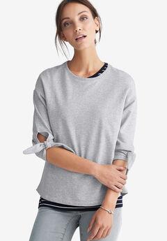 Tie-Sleeve Sweatshirt by ellos®, HEATHER GREY, hi-res