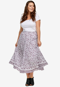 Printed Long Tiered Skirt by ellos®, BOYSENBERRY PRINT, hi-res