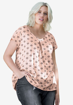 Twisted V-neck Tee by ellos®, ROSY PINK PRINT, hi-res
