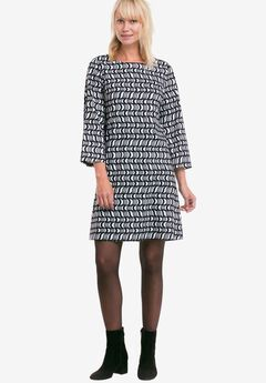 Printed Bell Sleeve A-Line Dress by ellos®,