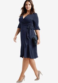 Ruffle Wrap Dress by ellos®, NAVY, hi-res