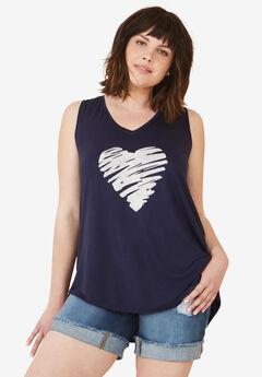 Love Ellos Tank by ellos®, NAVY HEART, hi-res