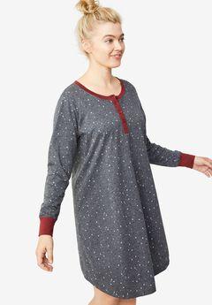 Long Sleeve Henley Sleepshirt,