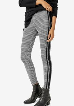 Side-Stripe Plaid Ponte Leggings,