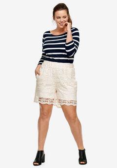 Crochet Lace Shorts by ellos®, IVORY, hi-res
