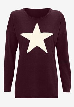 Star Applique Sweater by ellos®, MIDNIGHT BERRY IVORY, hi-res