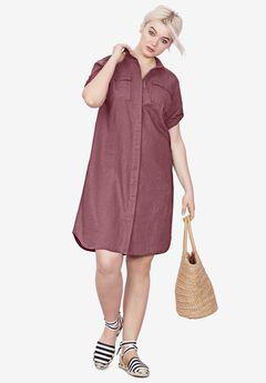 Button Front Linen Shirtdress, VINTAGE PLUM