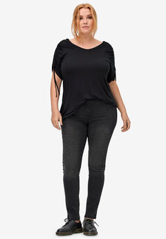 4-Pocket Stretch Jeggings by ellos®, BLACK, hi-res