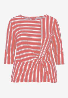 Striped Front Knot Tee by ellos®,