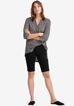 Stretch Twill Bermuda Shorts by ellos®, BLACK, hi-res