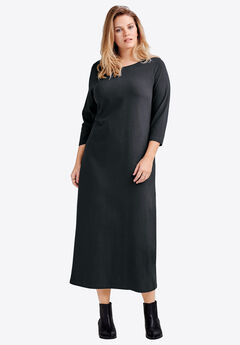 3/4 Sleeve Knit Maxi Dress by ellos®, BLACK