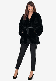 Tie-Front Faux-Fur Coat by ellos®, BLACK