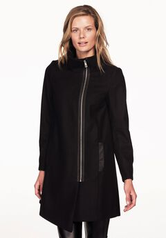 Asymmetrical Zip Coat by ellos®, BLACK