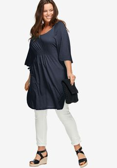 Smocked Waist Knit Tunic by ellos®, NAVY, hi-res