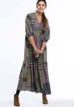 Printed Tiered Maxi Dress by ellos®, MULTI PATCHWORK PRINT, hi-res