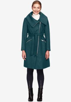 Asymmetrical Zip Belted Wool Blend Coat by ellos®, MIDNIGHT TEAL, hi-res