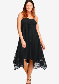 Handkerchief Hem Dress by ellos®, BLACK