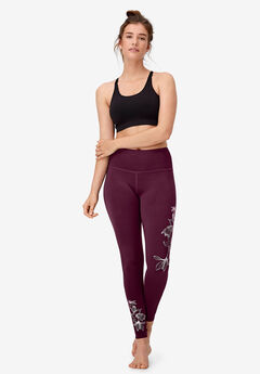 Floral Print Leggings by ellos®, MIDNIGHT BERRY