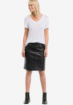 Zip Pocket Leather Skirt by ellos®, BLACK