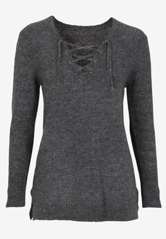 Lace-Up Pullover Sweater by ellos®, HEATHER CHARCOAL, hi-res