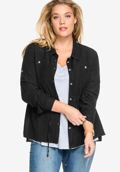 Drawstring Waist Button-Front Shirt by ellos®, BLACK, hi-res