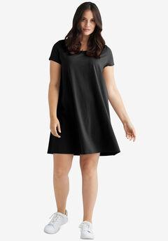 Short Sleeve Tee Dress, BLACK