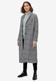Wool-Blend Long Plaid Coat by ellos®, BLACK WHITE PLAID