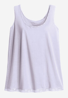 Lace Trim Scoop Neck Tank by ellos®, LILAC HAZE, hi-res
