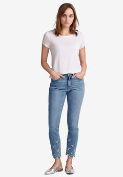 Embroidered Scallop-Hem Jeans by ellos®, LIGHT STONEWASH