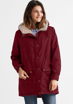 Sherpa Lined Multi-Pocket Parka by ellos®, RICH BURGUNDY