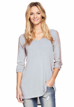 Lace Trim Long Sleeve Tunic by ellos®,