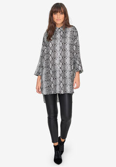 Button-Front Animal Print Tunic by ellos®,