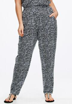 Soft Knit Elastic Waist Pants by ellos®, BLACK PRINT