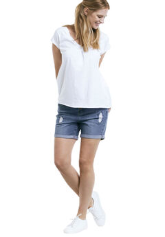 Distressed Denim Girlfriend Shorts by ellos®, MEDIUM SANDED DISTRESSED