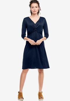 Knot Front Knit Dress by ellos®, NAVY, hi-res