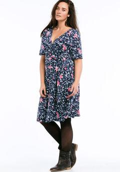 Wrap Dress by ellos®, NAVY FLORAL, hi-res