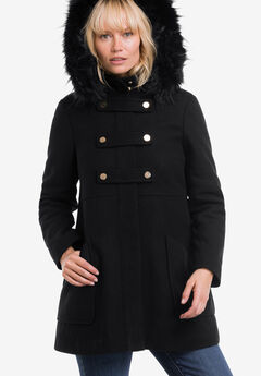Faux Fur Trim Wool-Blend Coat by ellos®, BLACK, hi-res
