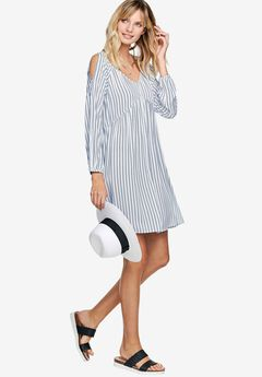 Matilda Cold Shoulder Dress by ellos®, WHITE NAVY STRIPE, hi-res