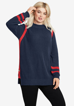 Side Stripe Mockneck Sweater by ellos®,