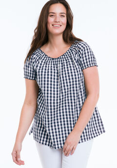 Gingham Peasant Tunic by ellos®, NAVY/WHITE, hi-res