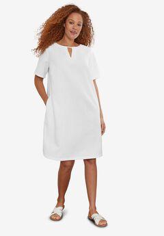 Linen-Blend A-Line Dress,